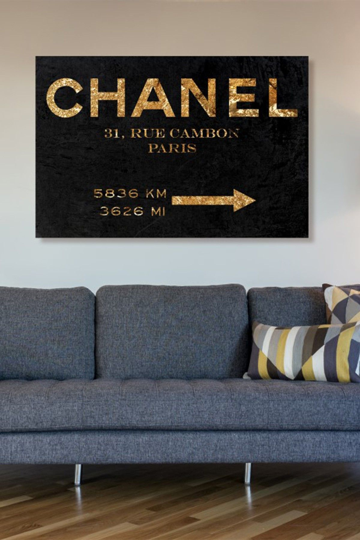 Oliver Gal Couture Road Sign Night Canvas Wall Art