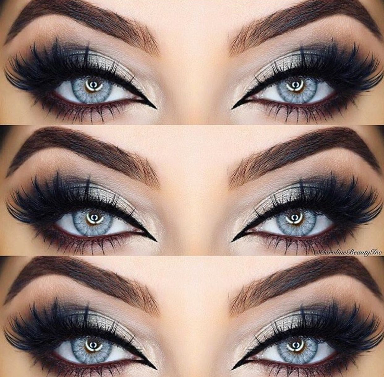 smokey eye for gray eyes. brows are flawless. no angry bird