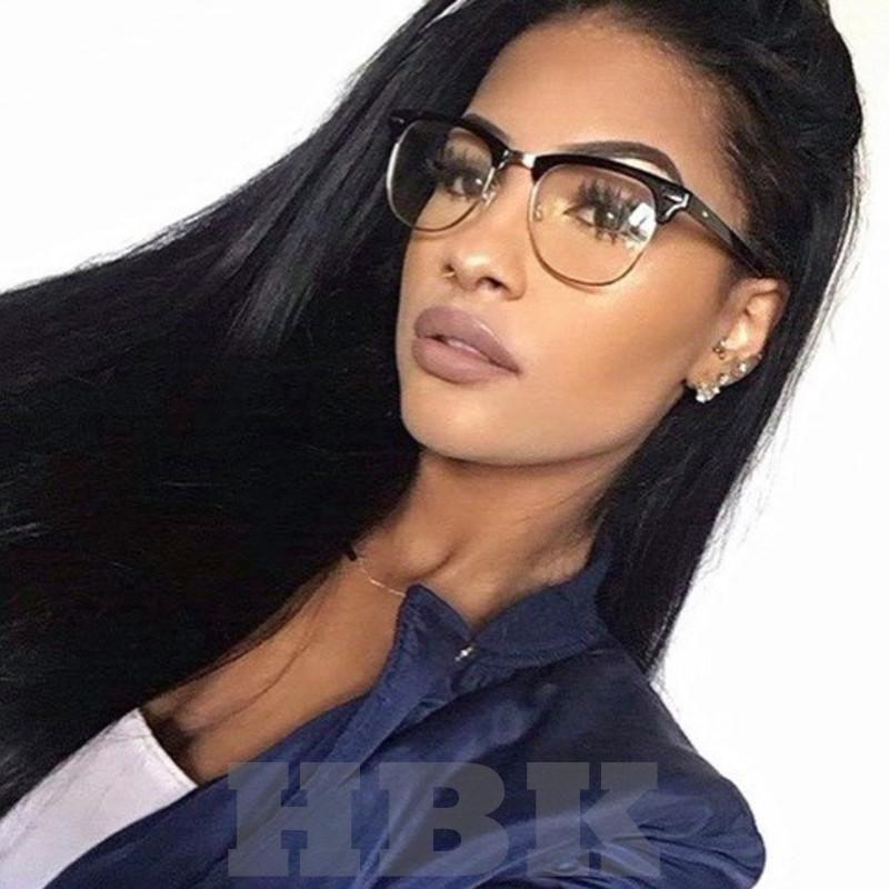 ec03e02e125 HBK Fashion Cat Eye Optical Eye Glasses Women Men Clear Lens Big Metal  Glasses Frame Retro