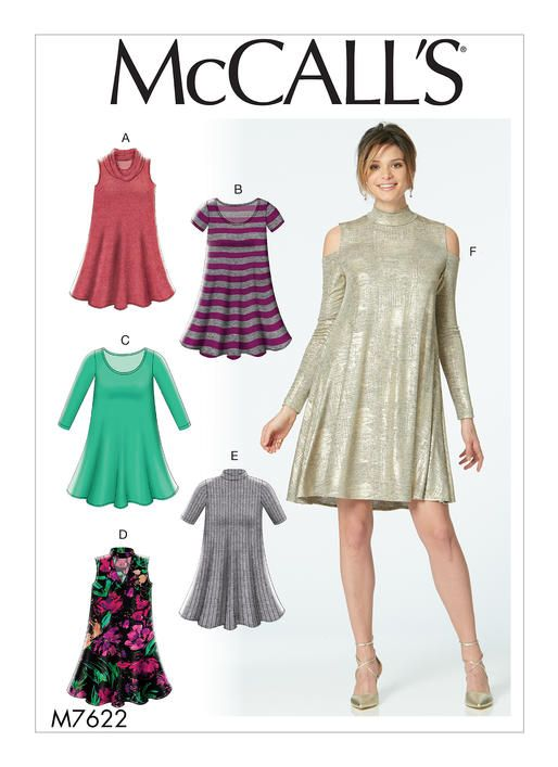 McCall\'s sewing pattern M7622. Misses\' Knit Swing Dresses with ...