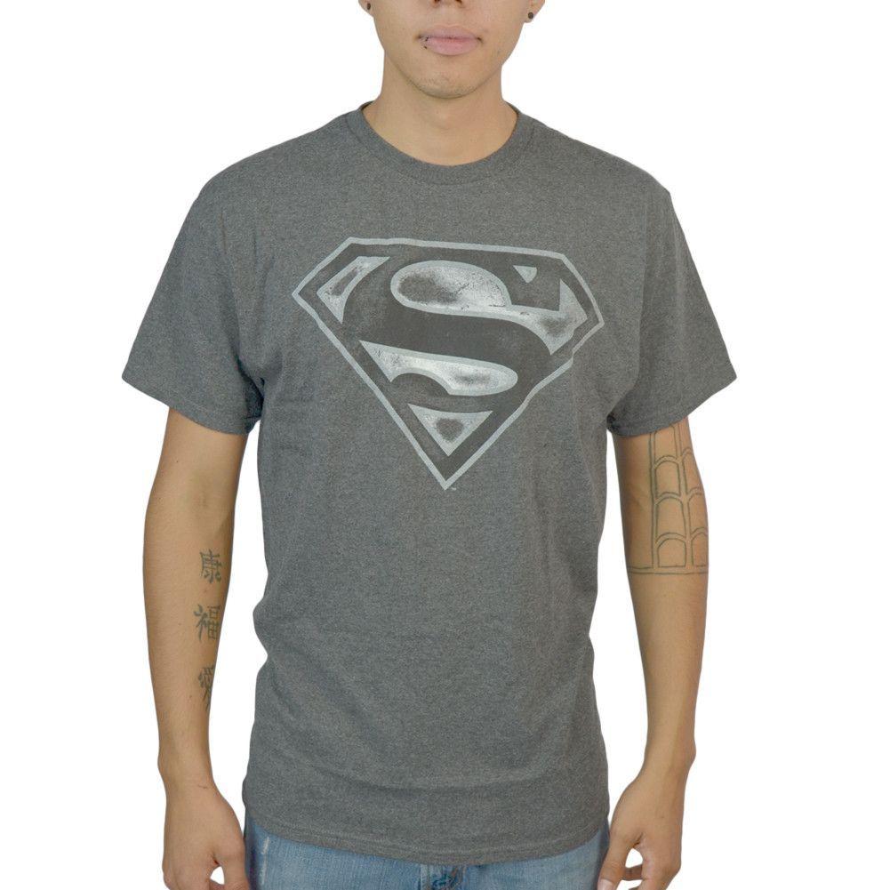 Dc comics superman logo man of steel grey licensed t shirt