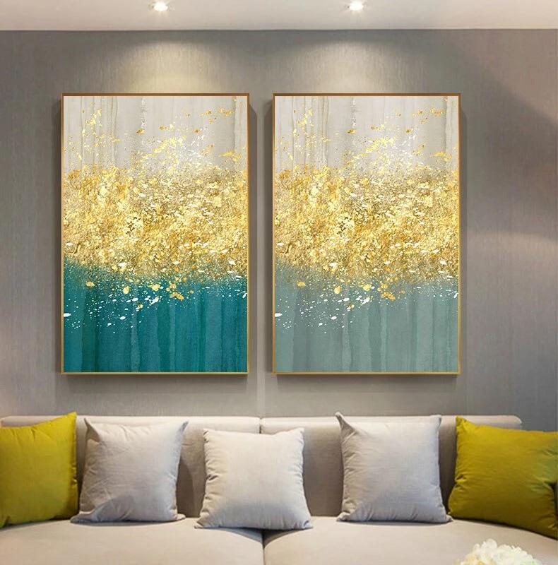 Golden Splash Abstract Wall Art Blue Gold Contemporary Wall Art Decor Contemporary Wall Art Decor Wall Art Pictures Modern Canvas Art