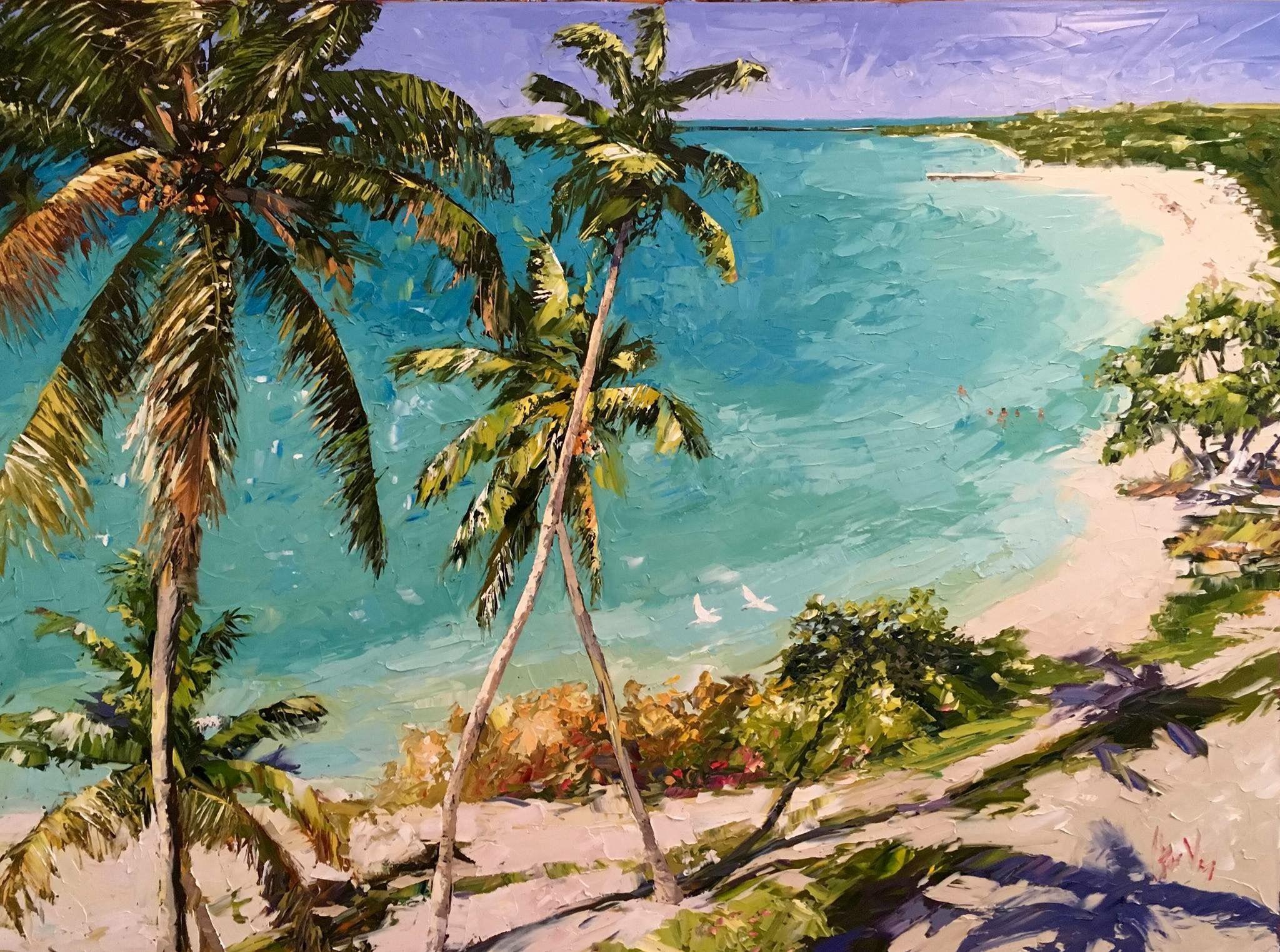 Peter Vey Bahia Honda Birds Eye View 36x48 View Painting Abstract Art Painting Diy Landscape Art