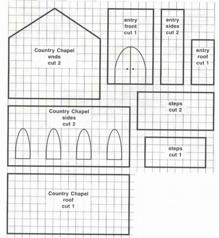 Country Chapel Sketches Patterns Templates Gingerbread House Template Gingerbread House Template Printable Gingerbread House Patterns