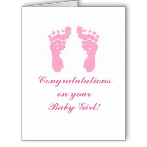 baby girl footprints big 8 5 x11 card