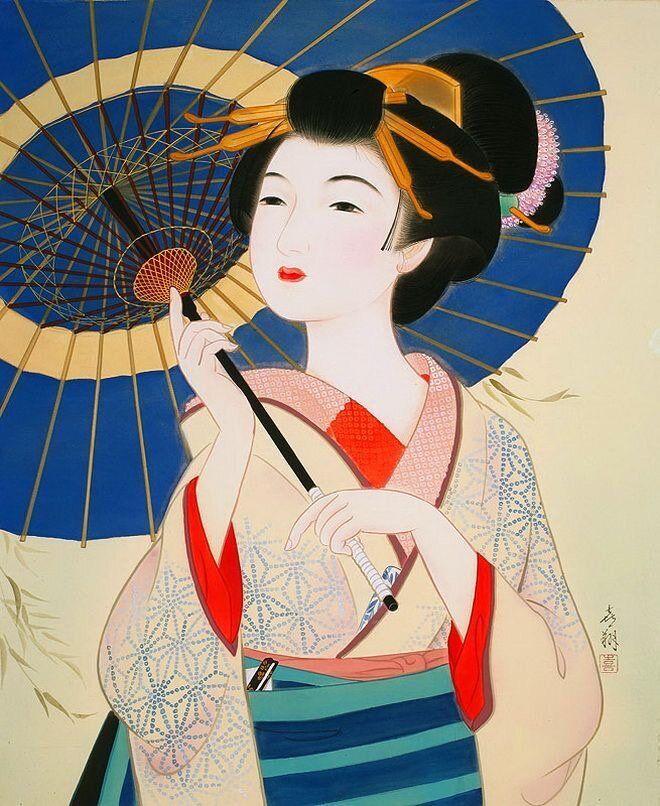 Vintage japanese porcelain geisha girl plates set of six