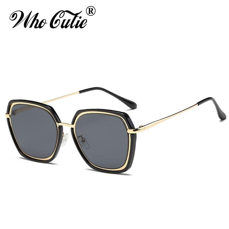 cf672573b2f WHO CUTIE 2018 Oversized Tint Sunglasses Women Vintage Brand Designer  Polygon Clear Lens Plastic Frame Shades