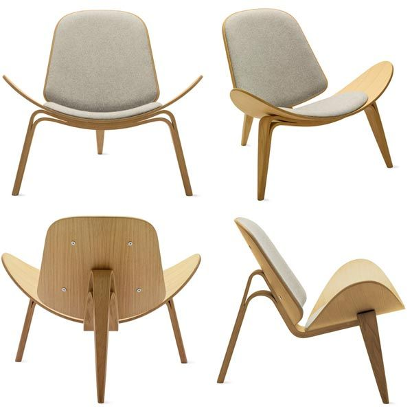 Three Legged Shell Chair Designed In 1963 Made From Bent Plywood Wegner Believed That A Chair Should Be B Wooden Lounge Chair Plywood Chair Furniture Design