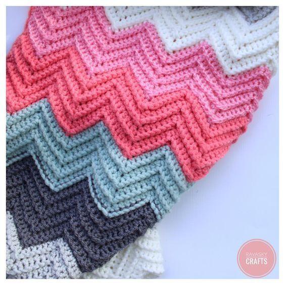 Chevron Blanket Again Using Double Crochet Stitch Such An Amazing