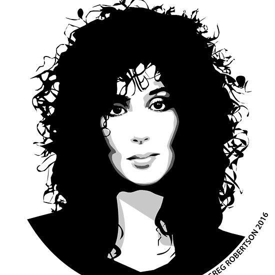 Music Legend Cher Black And White Print Celebrity Art Portraits Silhouette Art Art