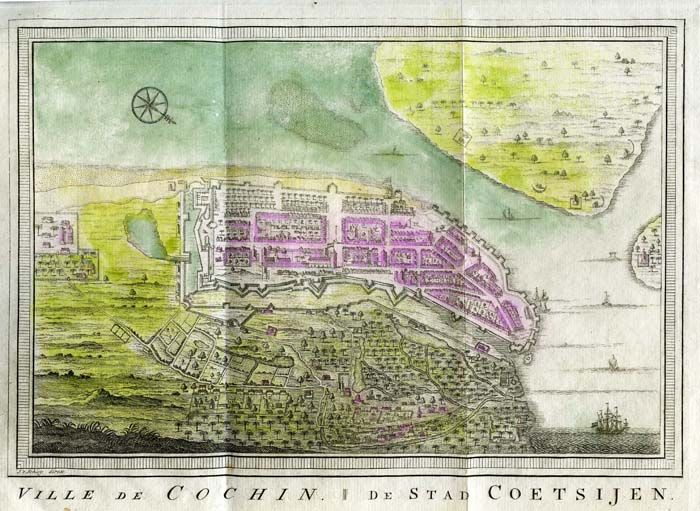 """""""Ville de Cochin,"""" a view by Bellin, in Prevost, c.1755, with what may be quite early hand coloring"""