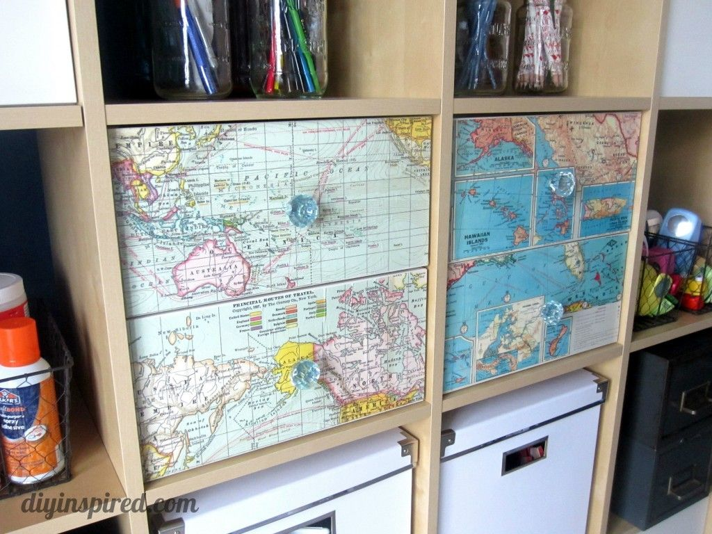 Recycled-Map-Drawer-Makeover