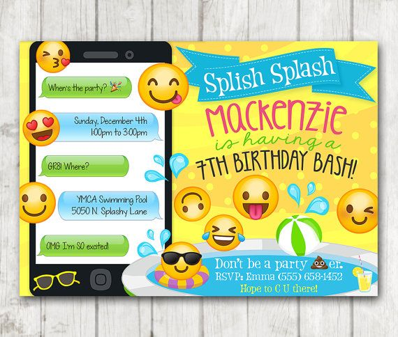 Printable Emoji Pool Party Invitation Swim By HappyBarn