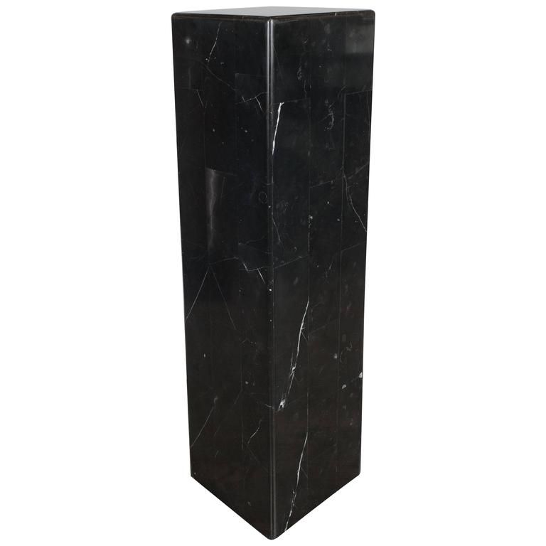 This Clean Modernist Black Belgian Marble Pedestal Features A Simple Tessellated Block Design Allowing The Beauty Of The St Pedestal Onyx Colour Sophisticated