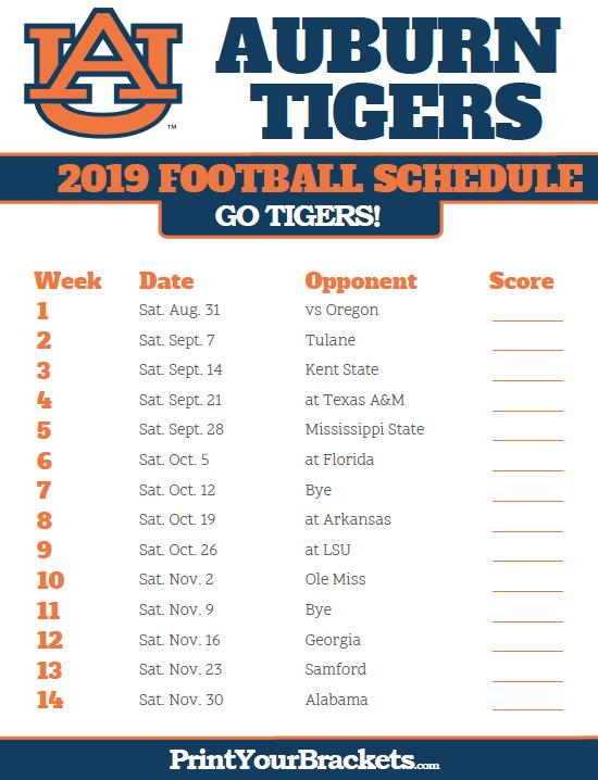 Printable Auburn Tigers Football Schedule