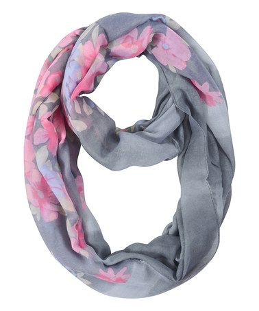 Look what I found on #zulily! Gray & Pink Floral Infinity Scarf #zulilyfinds