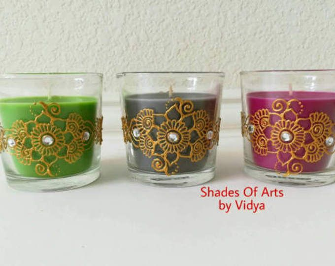 Henna Party Gifts : Set of votives with organza bags scented henna