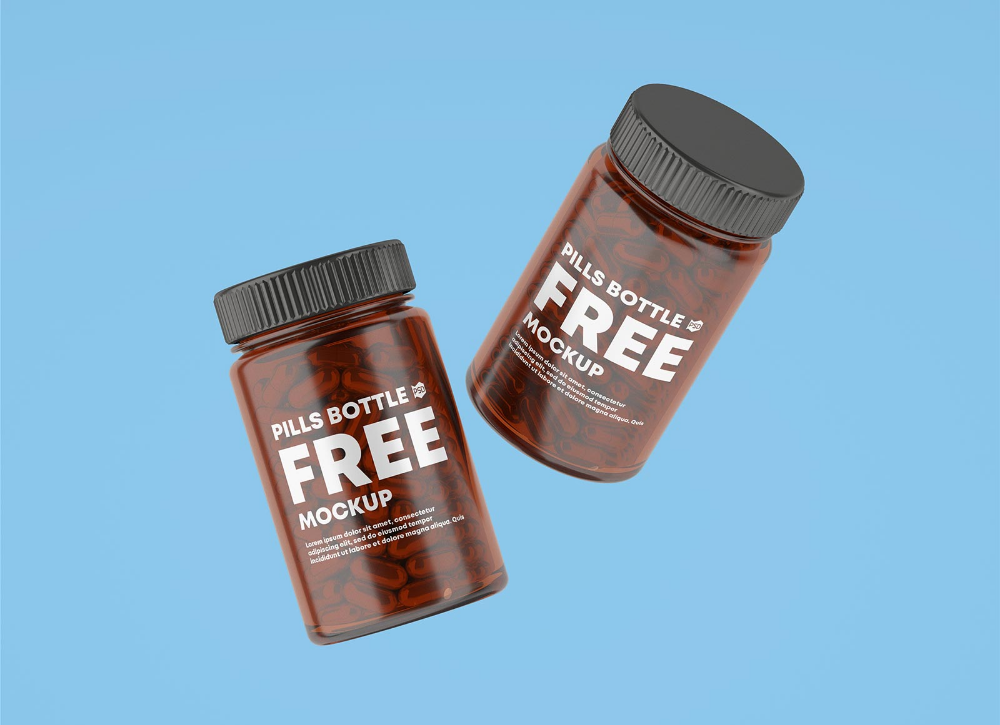 Download Free Amber Glass Capsule / Pill Bottle Mockup PSD Set ... Free Mockups
