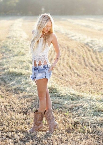 96bc59196b4 Hot Skirts and Cowboy Boots | shorts shoes blouse crochet crop top white  halter top cowgirl boots .