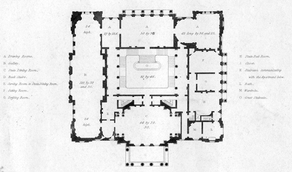 Lancaster House First Floorplan Main Level Neoclassico Seculo 19 Arquitetura