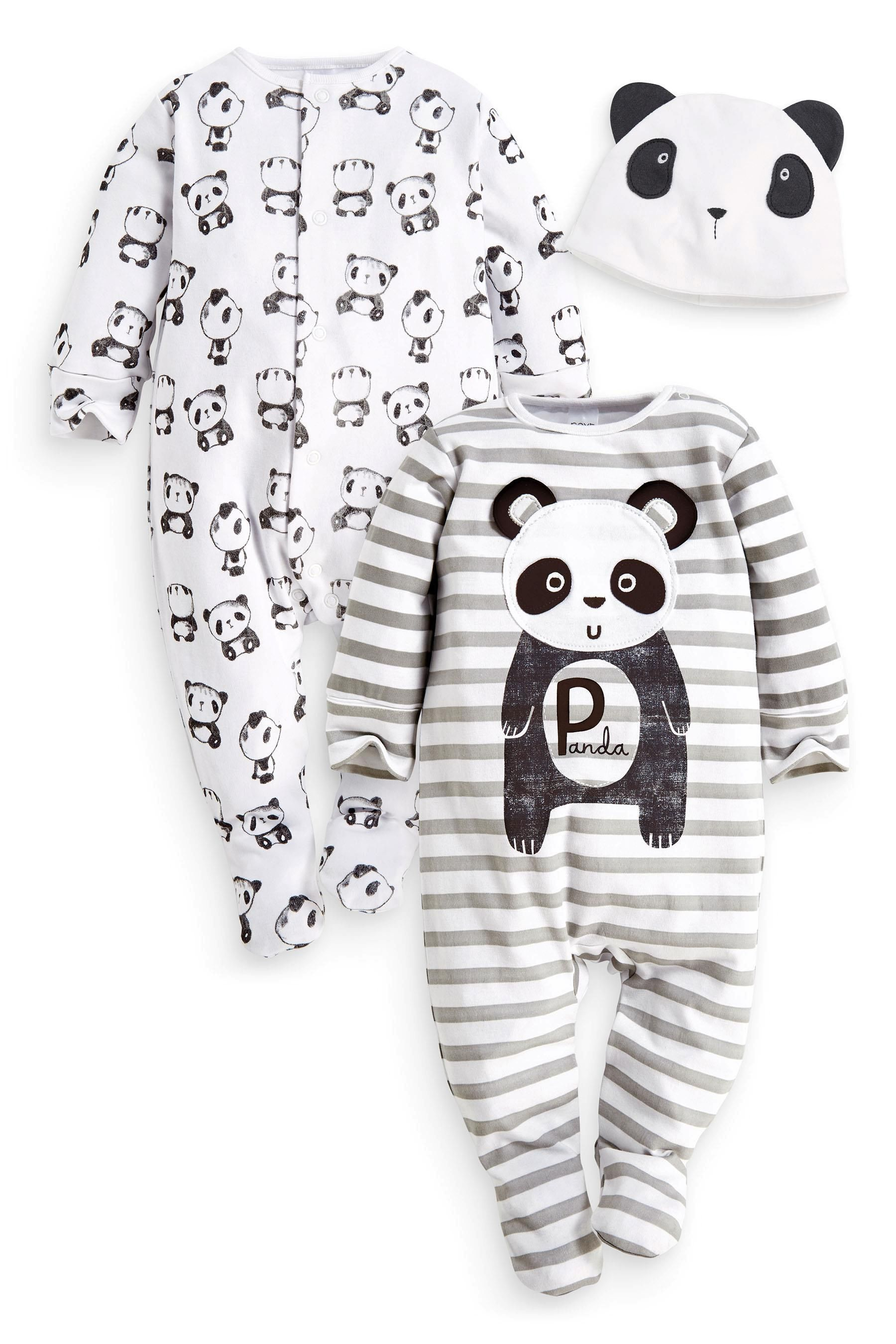 Buy Two Pack Panda Sleepsuits And Hat Set 0 2yrs from the Next UK