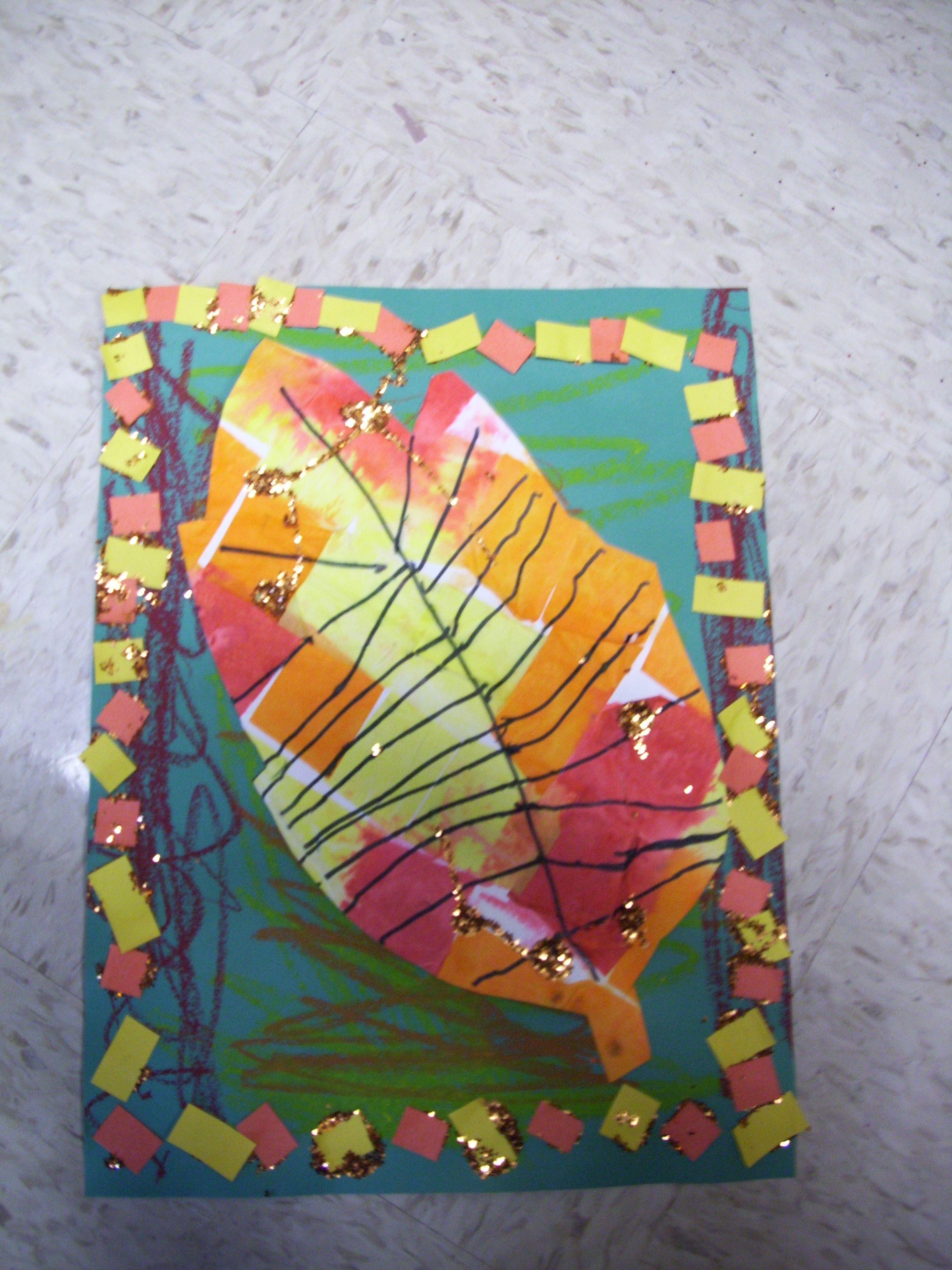 Kindergarten Art Idea Warm Colors Leaf Art Patterning