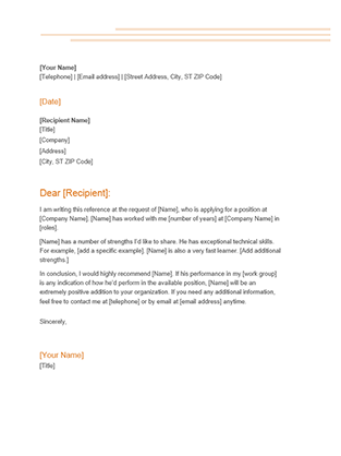 template letter of recommendation
