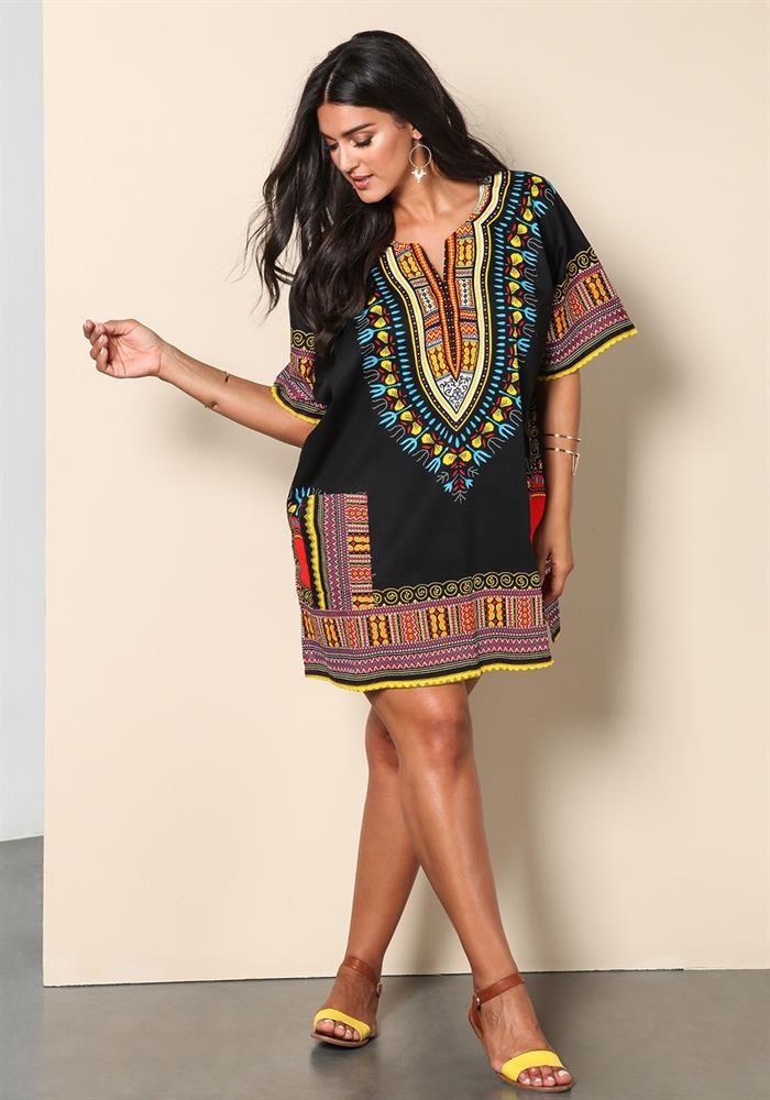 7977957b77301 Plus Size   Plus Size Dashiki Printed Dress   Debshops.com ...