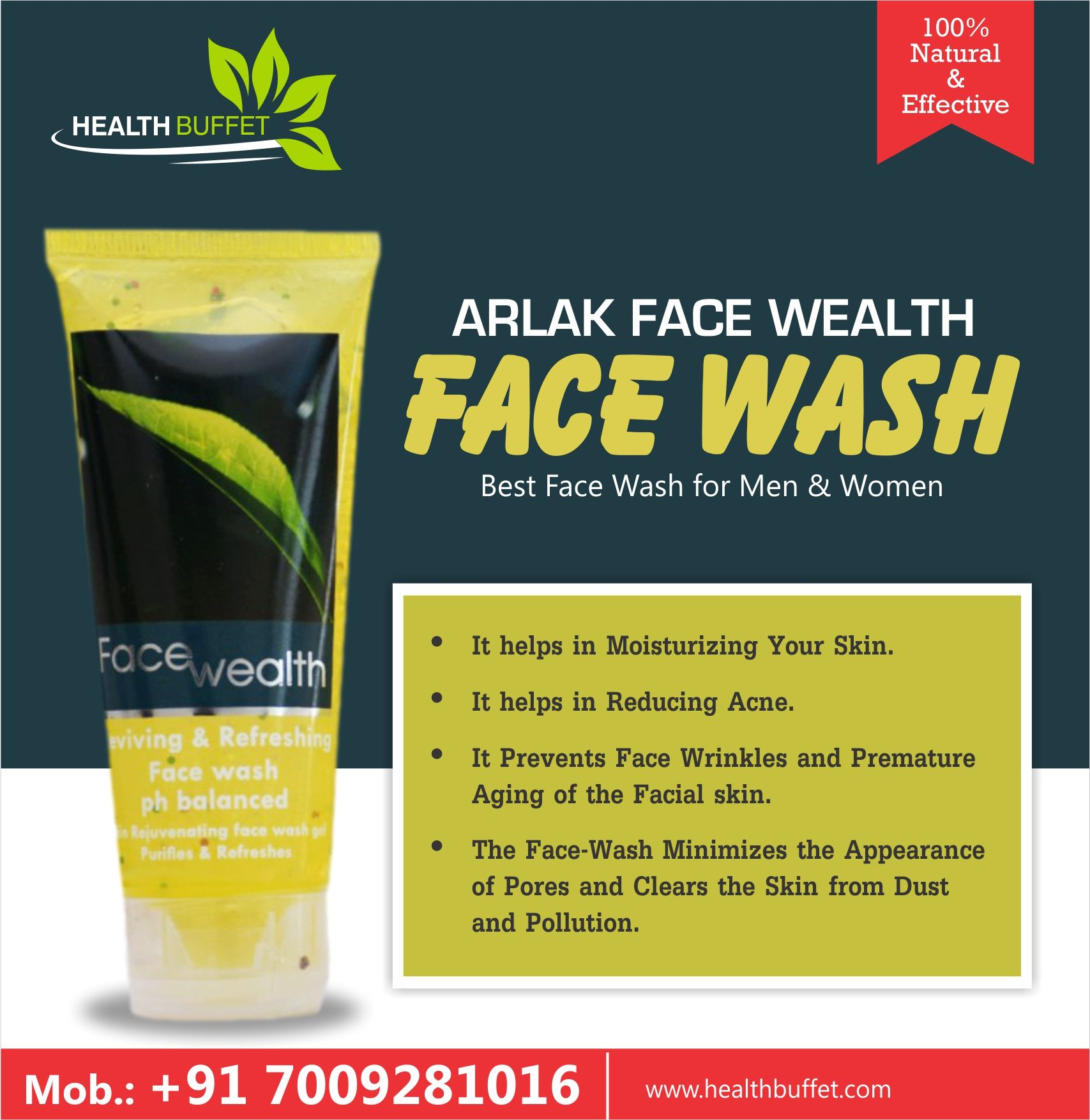 Arlak face wash works best against pimples and acne Available at