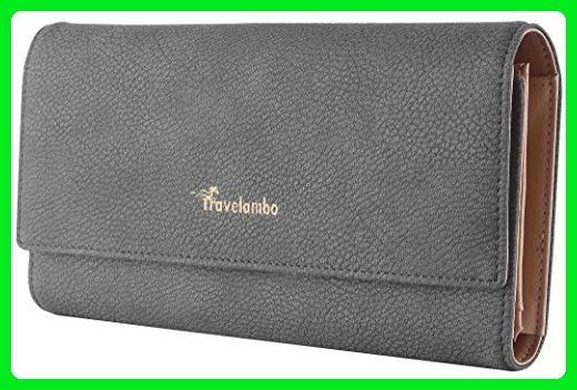 dc985a85dd9541 Travelambo Womens Wallet Faux Leather RFID Blocking Purse Credit Card  Clutch Holder Case (Steel gray) - Wallets (*Amazon Partner-Link)