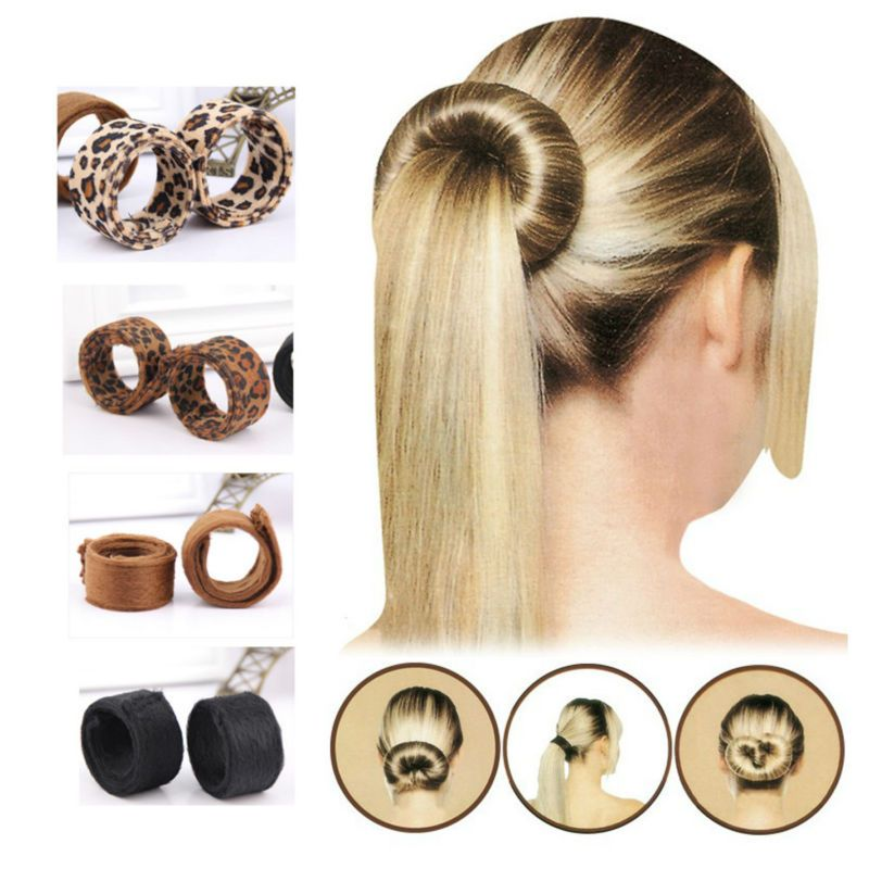 Youmap Fashion Hair Bun Donut Black Leopard Tail Hairagami Hairbands Jewelry Accessories Women Styling Tools As Seen On Tv