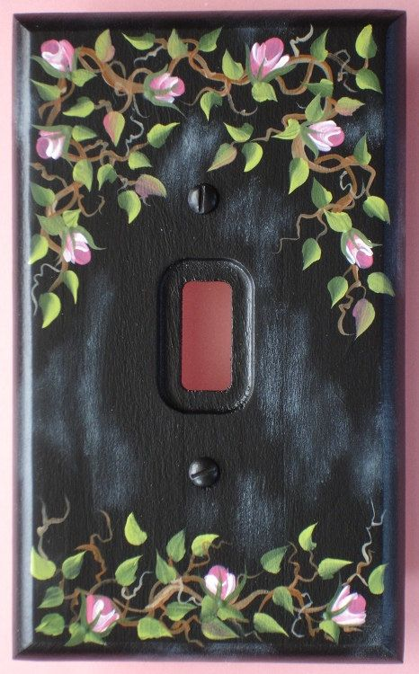 Light Switch Plate Cover Pink Rose Vine Hand By Carolannstole 995