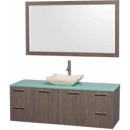 Wyndham Collection Amare 60 inch Single Bathroom Vanity in Gray Oak with Green Glass Top with Ivory Marble Sink, and 58 inch Mirror