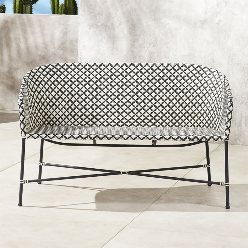 Outstanding Brava Black And White Wicker Loveseat Reviews Home Ocoug Best Dining Table And Chair Ideas Images Ocougorg