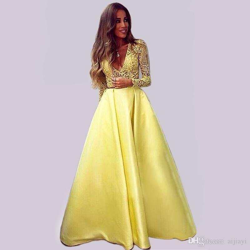 Hot Sale Long Sleeve Evening Dress 2016 Gorgeous V Neck ...