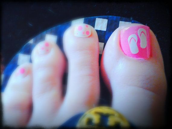 Super Cute Flip Flop Vinyl Toe Nail Decals By Alwaysccd On