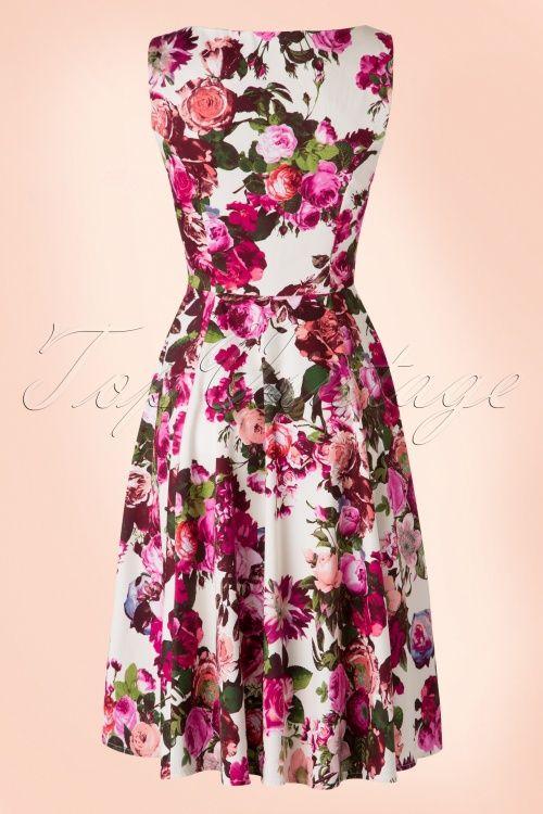 76e38729f88b 50s Audrey Floral Swing Dress in Cream | Mad Men dresses | Dresses ...