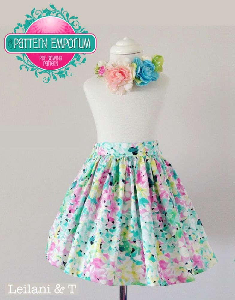 a661c9837 Girls Gathered Flat Front Elastic Back Skirt PDF Sewing Pattern. Home Kids  Clothes ...