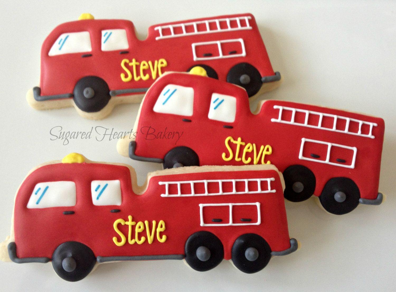 Online coloring fire truck - Firetruck Cookies Dozen Fire Engine Red Firetuck Cookies By Sugaredheartsbakery
