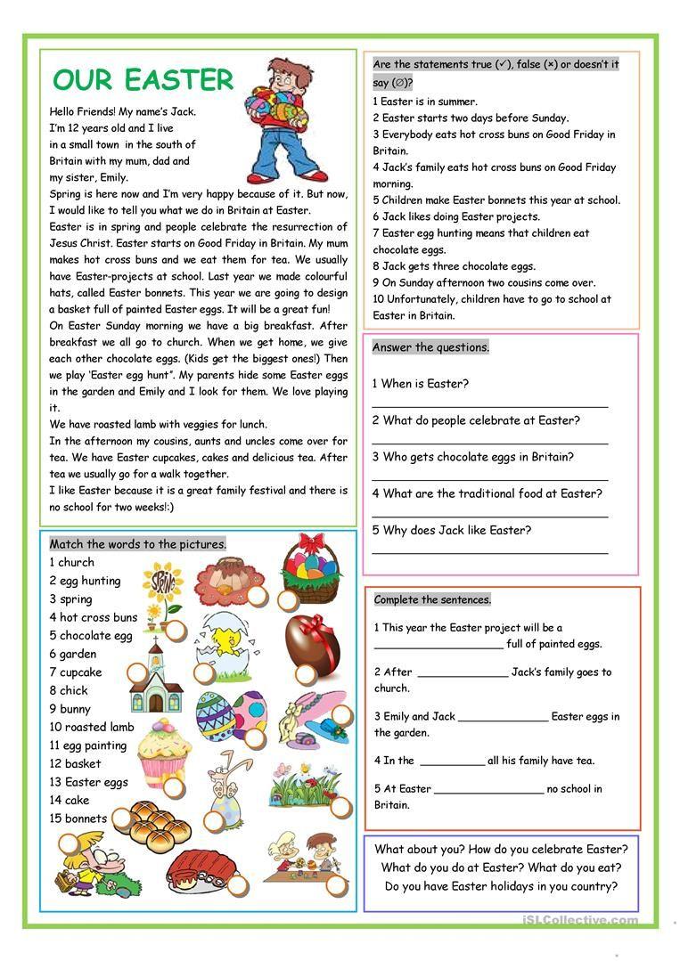 Our Easter Worksheet Free Esl Printable Worksheets Made By Teachers Easter Worksheets Easter Reading Comprehension Reading Comprehension [ 1079 x 763 Pixel ]