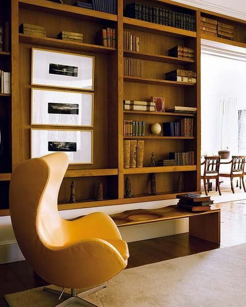 Book Storage Ideas And Home Library Design | Mid Century Modern Library |  Yellow Egg Chair
