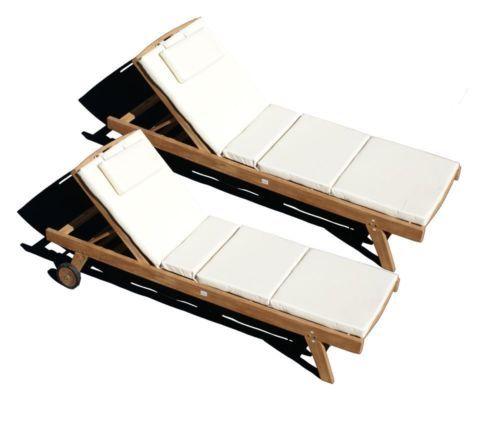 teakholz liege gartenliege sonnenliege 2 stueck mit auflage creme 4 014 new place pinterest. Black Bedroom Furniture Sets. Home Design Ideas