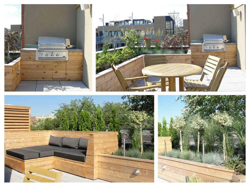 Modern Roof Terrace In Montreal. Custom Made Wood Bench And Screens.  Built In