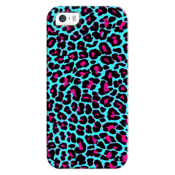 iPhone 6 Plus/6/5/5s/5c Bezel Case - Turquoise Fuchsia Pop Leopard (47 AUD) ❤ liked on Polyvore featuring accessories, tech accessories, iphone case, apple iphone cases, iphone cover case, leopard print iphone case and leopard iphone case
