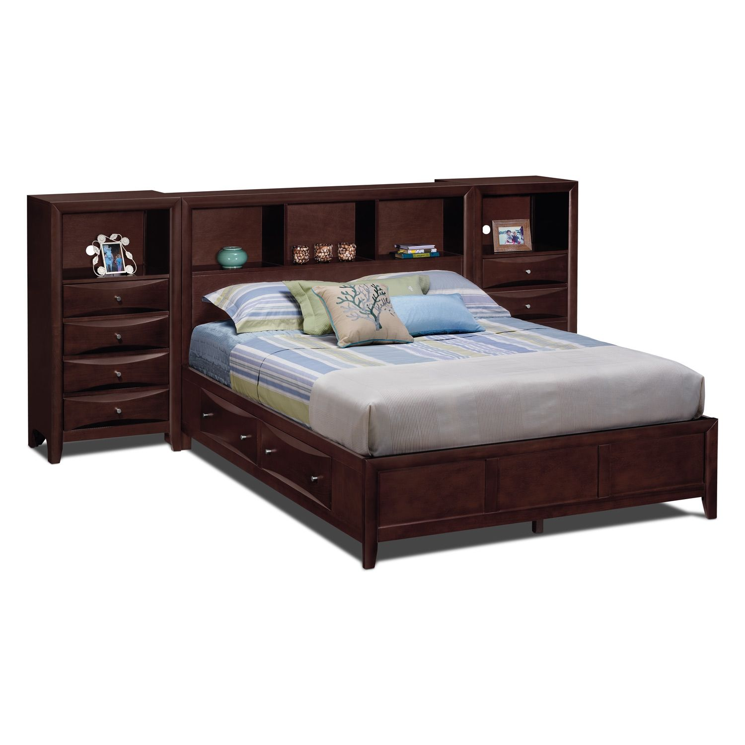 Kensington Bedroom Queen Wall Bed With Piers | Furniture.com · Value City  ...