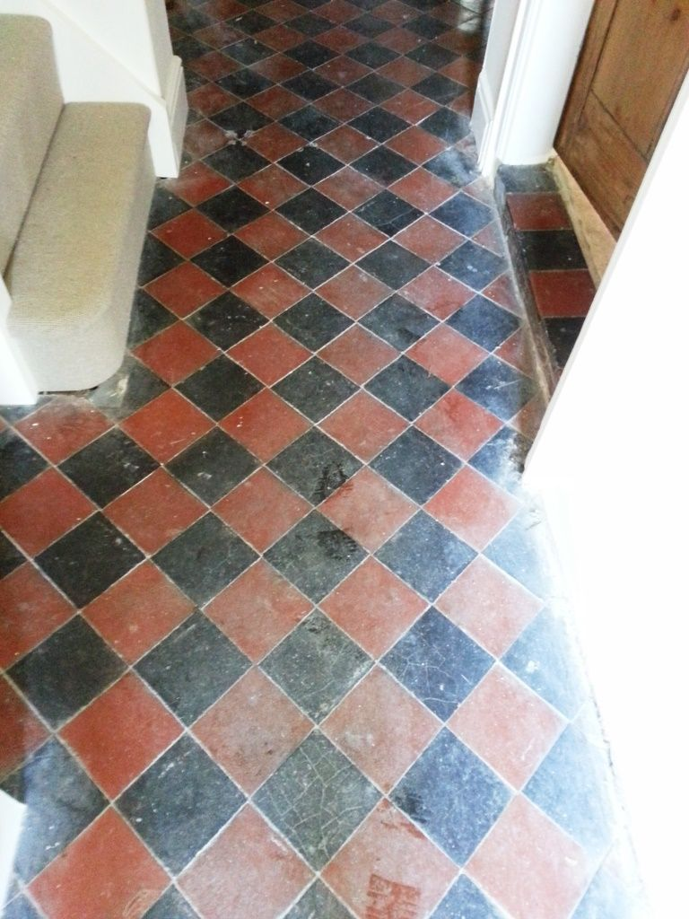 Red and Black Quarry Tiles Riseley before cleaning | house projects ...