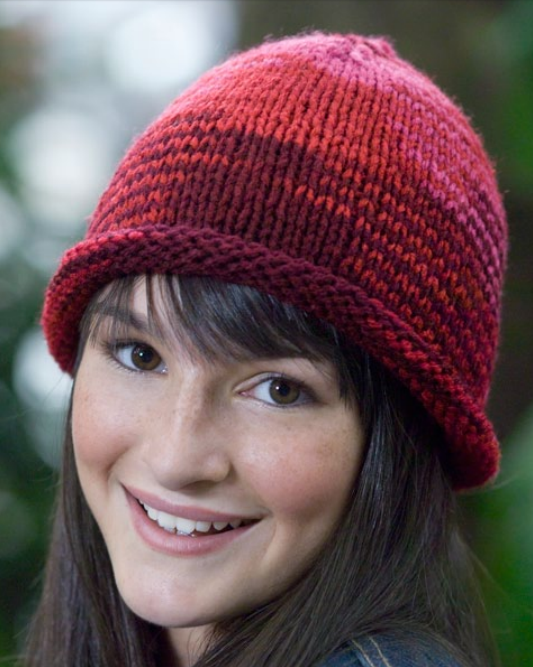 Free Knitting Pattern For Easy Roll Brim Beanie Knit Flat Knitting Patterns Free Hats Hat Knitting Patterns Easy Knit Hat