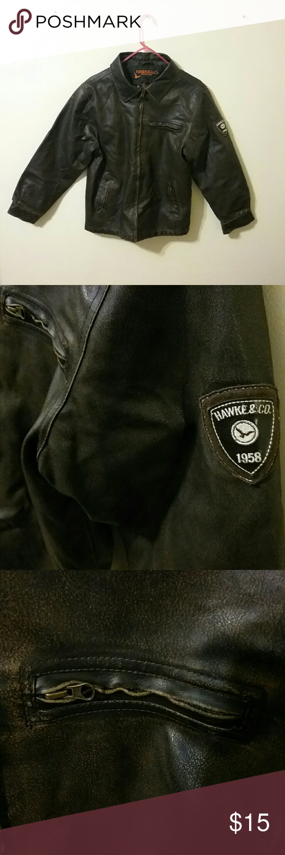 Hawke Co Outfitters Leather Jacket 18 20 W Patch Leather Jacket Jackets Clothes Design [ 1740 x 580 Pixel ]