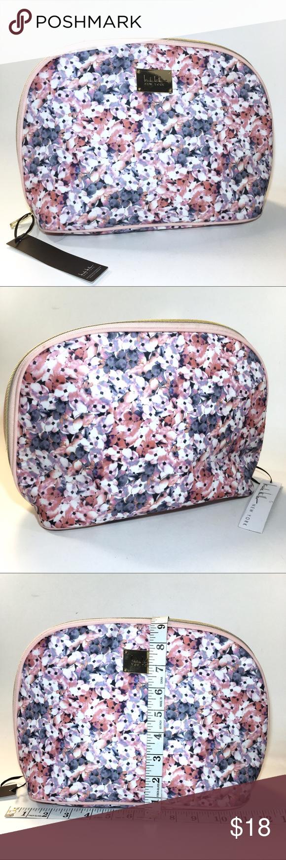 Nicole Miller NEW YORK Floral Makeup Bag Pink Wht NWT