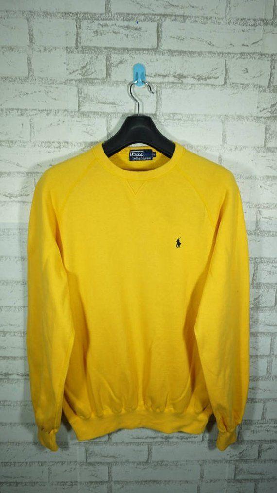 1083d1c4cf1 Vintage 90s polo ralph lauren Small Pony Yellow sweatshirt Size Large L  stadium p wing bear ski beac